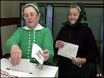 Hungarian voters in folk costume