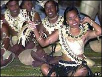 Dancers on Kiribati's Millennium Island, December 1999