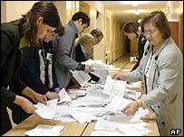 Election Commission workers count votes in EU entry referendum