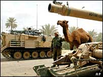 US troops and armour in Baghdad