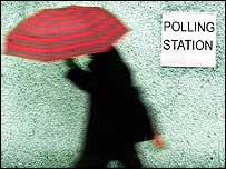 Person by polling station
