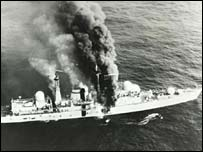 HMS Sheffield, hit by Argentinian missile May 1982; 21 crew members died