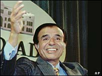 Carlos Menem on his reelection in 1995   