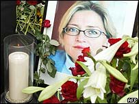 Candle, roses and photograph of murdered politician Anna Lindh, 2003