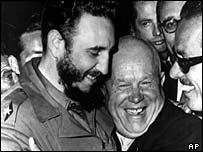 Fidel Castro (l) with Soviet leader Kruschev