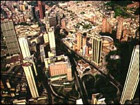 aerial view of Colombian capital