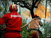 Firefighters in Santarem, Portugal