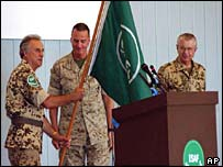 International Security Assistance Force (Isaf) in Afghanistan flag handed over at ceremony August 2003