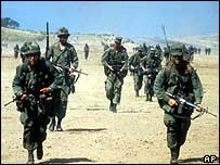 US forces in Grenada in 1983; the US sent in 6,000 marines