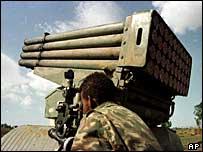 Ethiopian soldier positions a rocket launcher