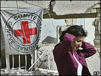 ICRC spokeswoman Nada Doumani outside the wrecked offices on 30 October