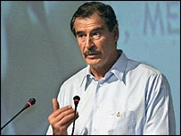 Mexican President Vicente Fox speaking at the UN-sponsored Convention Against Corruption
