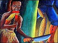Voodoo character in mural at Episcopalian Cathedral, Port-au-Prince