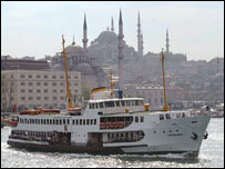Istanbul skyline and Bosphorous ferry