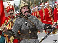 Reenactment of Ottoman soldiers parading