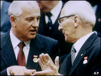 East German leader Erich Honecker (right) with Soviet leader Mikhail Gorbachev (left), 1989