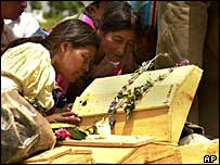 Relatives of civil war victims try to identify remains before funeral at Zacualpa, 2001