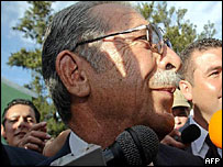 Former dictator Efrain Rios Montt on campaign trail, 2003
