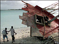Boat wreckage on Montague Beach, Nassau, after Hurricane Floyd in 1999