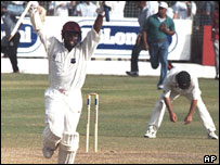 Brian Lara celebrates West Indies win against Australia, 1999