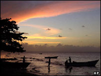 Nightfall on Dominican Republic's northeastern coast