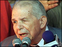 Back on the campaign trail: former premier Joaquin Balaguer, aged 93, in February 2000