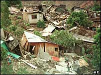 Houses in Tegucigalpa destroyed by Hurricane Mitch