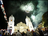 Fireworks light up main cathedral in Panama City during independence celebrations in 2003