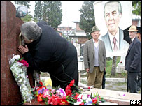 Supporters of late Communist leader Enver Hoxha at his grave, 2003