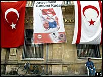 Northern Cyprus street scene - flags and poster