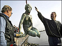 Little Mermaid is winched back to her rock after her 2003 misfortune
