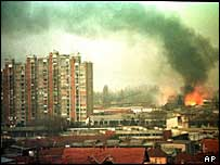 Pristina skyline March 1999