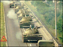 Convoy of Yugoslav army tanks returning from Slovenia, 1991