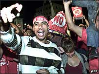 Chavez supporters celebrate president's victory in 2004 referendum on his rule