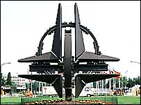 Sculpture of Nato logo at organisation's Brussels HQ