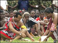 King Mswati studies draft of proposed constitution, 2003