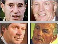Clockwise from top left: Cliff Morgan and Henry Cooper, Henry Cooper and Brendan Foster