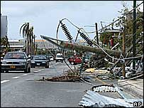 Hurricane damage in George Town, September 2004