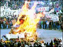 European farmers protest in Strasbourg, France, in 1992 over Gatt agricultural proposals