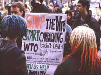 London anti-WTO protest, held during the 1999 WTO ministerial meeting in Seattle