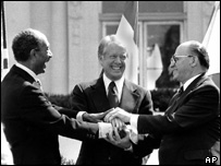 Sadat and Israeli premier Menachem Begin make peace brokered by U.S. President Jimmy Carter in 1979