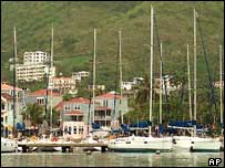 Boats on the main island of Tortola