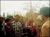 A Montagnard Christian arrested A Montagnard Christian arrested (and later beaten) by Vietnamese authorities for opposing the destruction of a church (March 2001)