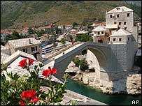 The rebuilt Mostar bridge