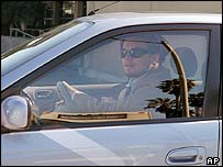 Leonardo DiCaprio in his Toyota Prius