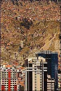 La Paz, showing housing on mountain slopes