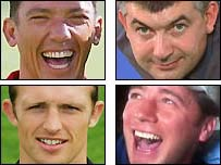 Clockwise from top left: Frankie Dettori, John Parrott, Ally McCoist and Matt Dawson