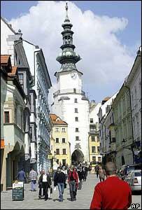 Shopping street in central Bratislava