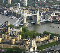 Tower Bridge and River Thames, Tower of London in foreground