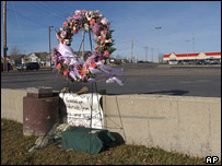A wreath in Palatine, Illinois, marks the site of the diner, now razed to the ground